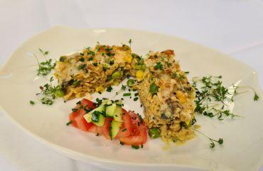 Linsennudel-Auflauf mit Fisch und Brokkoli